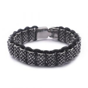 Antique Leather and Silver Stainless Steel Bracelet For Men 2