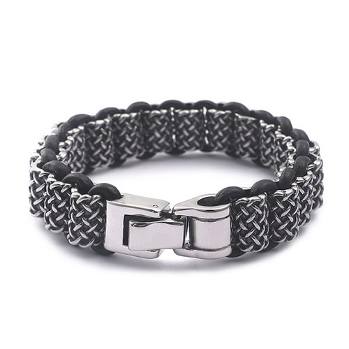 Antique Leather and Silver Stainless Steel Bracelet For Men 3