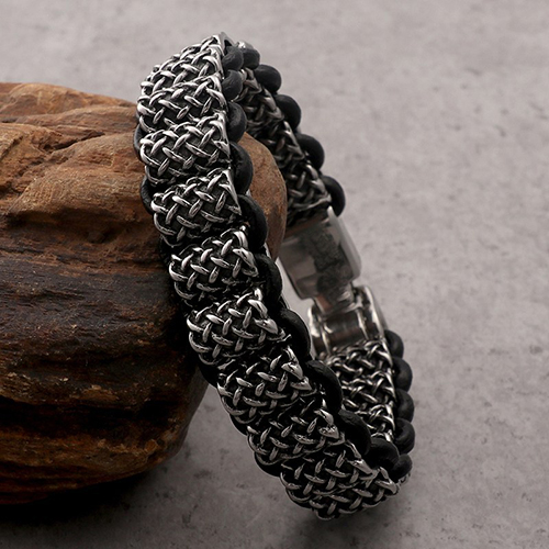Antique Leather and Silver Stainless Steel Bracelet For Men 4