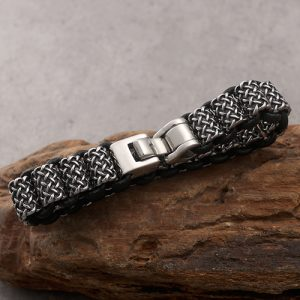 Antique Leather and Silver Stainless Steel Bracelet For Men 5