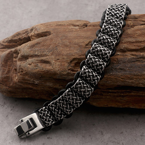 Antique Leather and Silver Stainless Steel Bracelet For Men 6