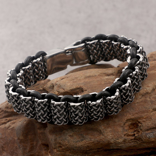 Antique Leather and Silver Stainless Steel Bracelet For Men