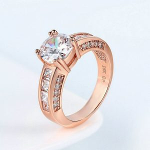 Beautiful Rose Gold Crystal Stone Ring