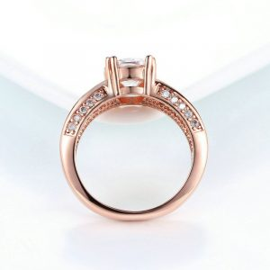 Beautiful Rose Gold Crystal Stone Ring 6