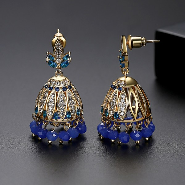 Blue Crystals with Goldplated Jhumki Earrings 2