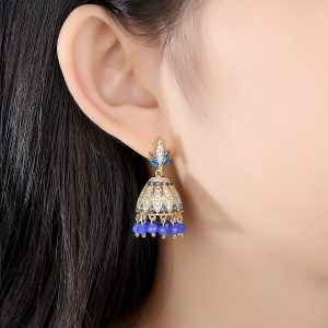 Blue Crystals with Goldplated Jhumki Earrings 3