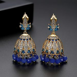 Blue Crystals with Goldplated Jhumki Earrings
