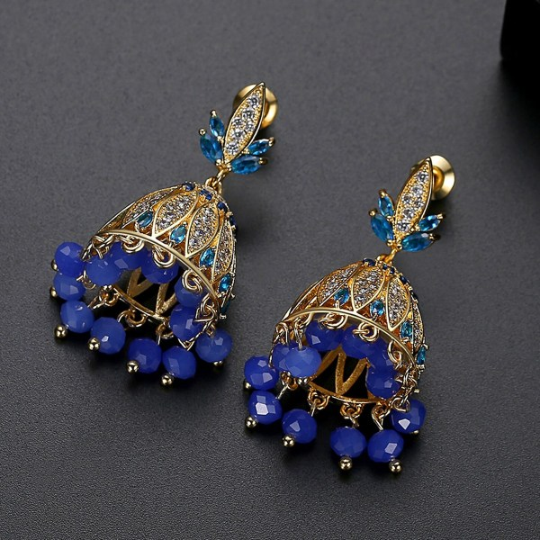 Blue Crystals with Goldplated Jhumki Earrings 4