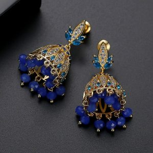 Blue Crystals with Goldplated Jhumki Earrings 5