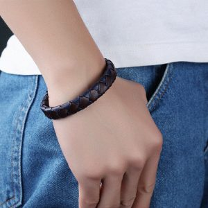 Brown with Blue Genuine Leather Men Bracelet 2
