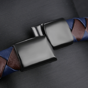 Brown with Blue Genuine Leather Men Bracelet 4
