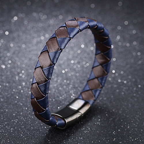 Brown with Blue Genuine Leather Men Bracelet