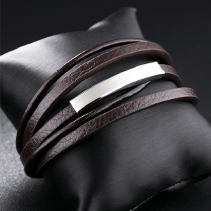 Brown with Silver Layers Genuine Leather Men Bracelet 2