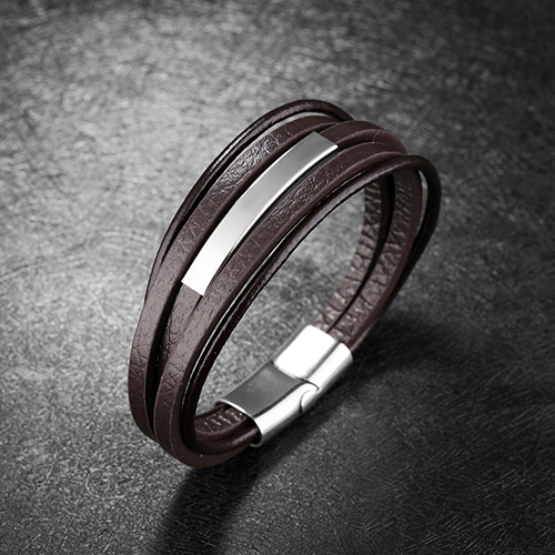 Brown with Silver Layers Genuine Leather Men Bracelet 3