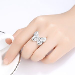 Butterfly Style Rhodium Plated Crystal Stones Ring For Women 2