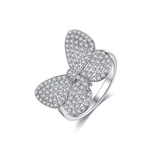 Butterfly Style Rhodium Plated Crystal Stones Ring For Women