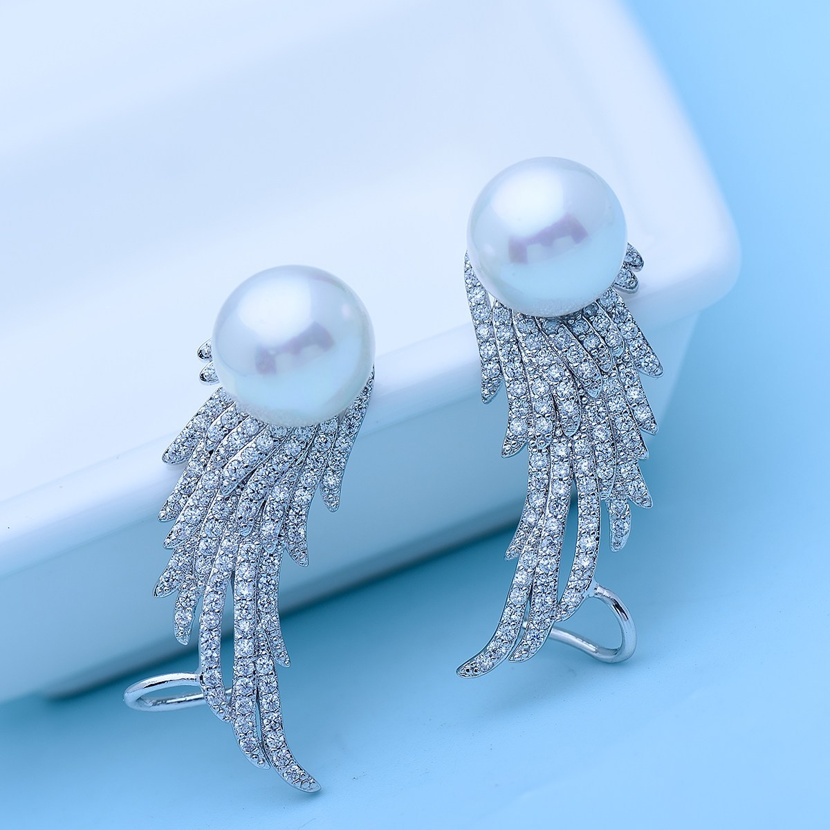 Fancy Finc with Pearl Rhodium plated Earrings 2