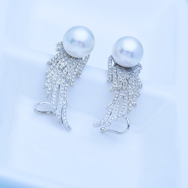 Fancy Finc with Pearl Rhodium plated Earrings 3