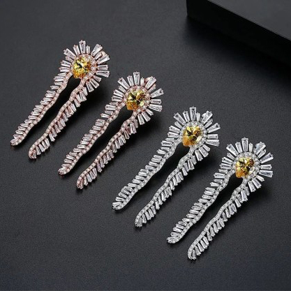 Feather Crystal Rose Gold Earrings 2