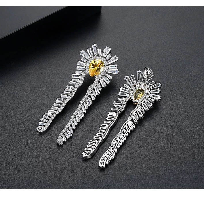Feather Crystal Silverplated Earrings