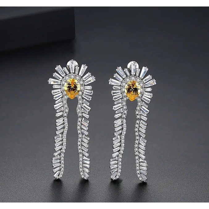Feather Crystal Silverplated Earrings 2