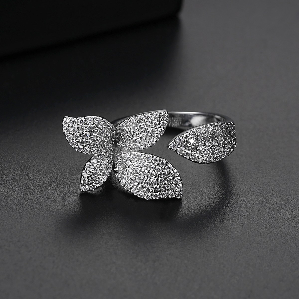 Flower Style Rhodium Plated Ring For Women 2