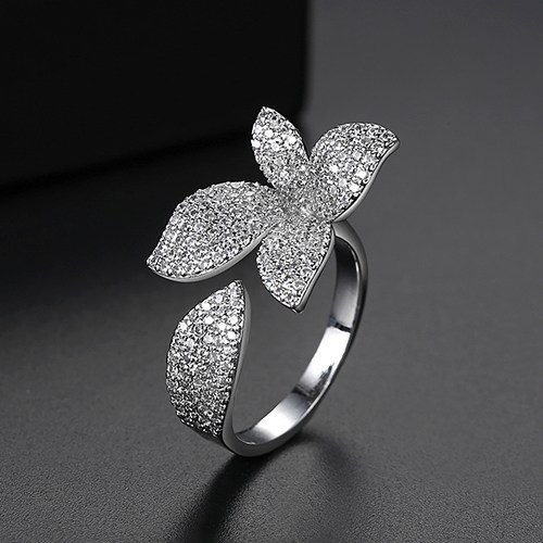 Flower Style Rhodium Plated Ring For Women