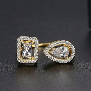 Gold Plated 2 Side Crystal Sone Ring For Women