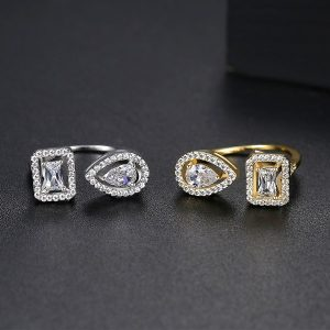 Gold Plated 2 Side Crystal Sone Ring For Women 3