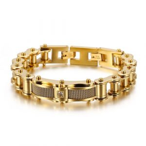 Goldplated Bike Chain Style Men Bracelet 1