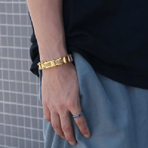 Goldplated Bike Chain Style Men Bracelet 3