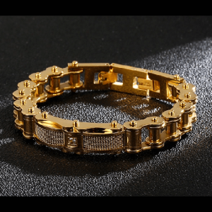 Goldplated Bike Chain Style Men Bracelet