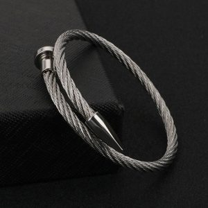 Rope String Silver Stainless Steel Bracelet For Men 2