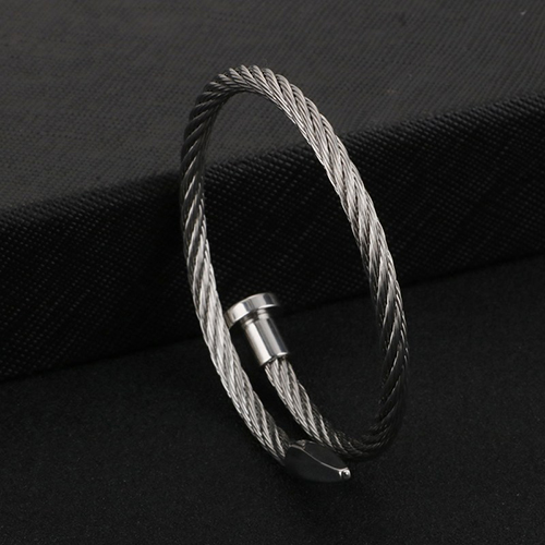 Rope String Silver Stainless Steel Bracelet For Men 3