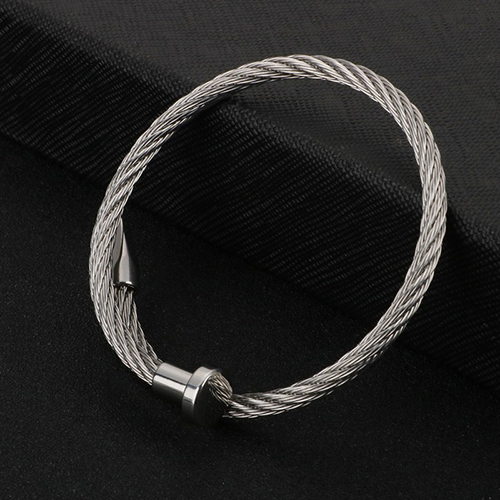 Rope String Silver Stainless Steel Bracelet For Men 4