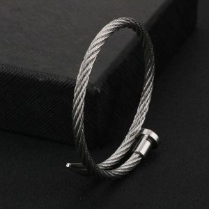 Rope String Silver Stainless Steel Bracelet For Men 5