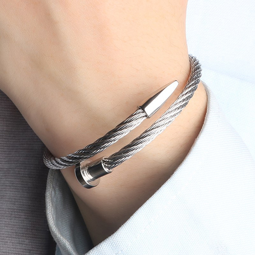 Rope String Silver Stainless Steel Bracelet For Men 6