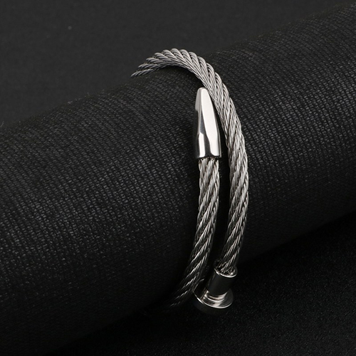 Rope String Silver Stainless Steel Bracelet For Men