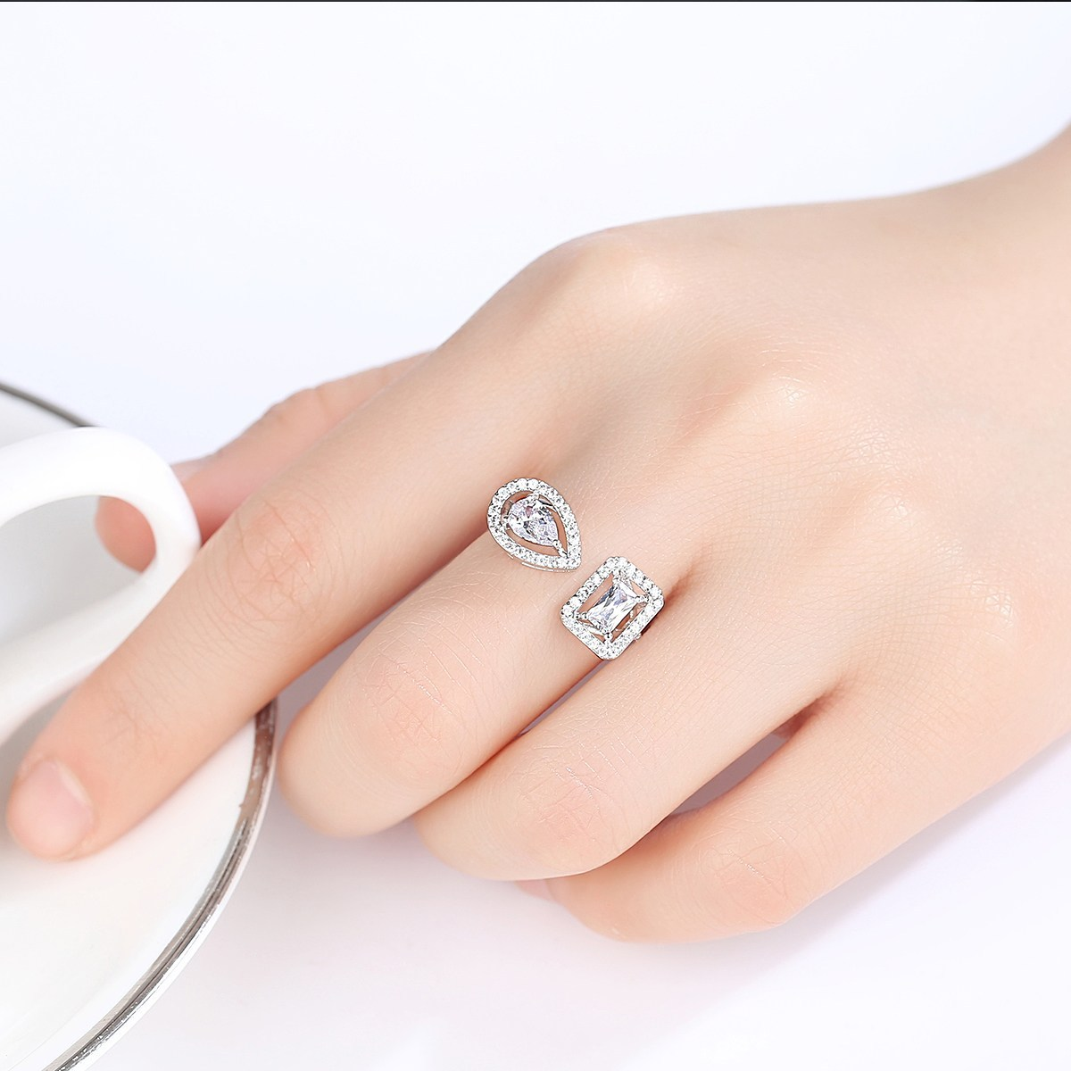 Silver Plated 2 Side Crystal Sone Ring For Women 2