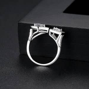 Silver Plated 2 Side Crystal Sone Ring For Women 3