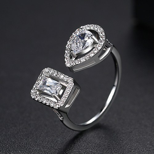 Silver Plated 2 Side Crystal Sone Ring For Women
