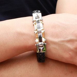 Top Quality Genuine Leather and 316 Stainless Steel Men Bracelet 4