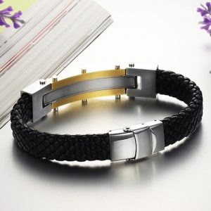 Top Quality Genuine Leather and 316 Stainless Steel Men Bracelet 5