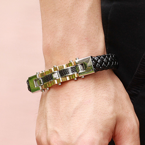 Top Quality Genuine Leather and 316 Stainless Steel Men Bracelet2