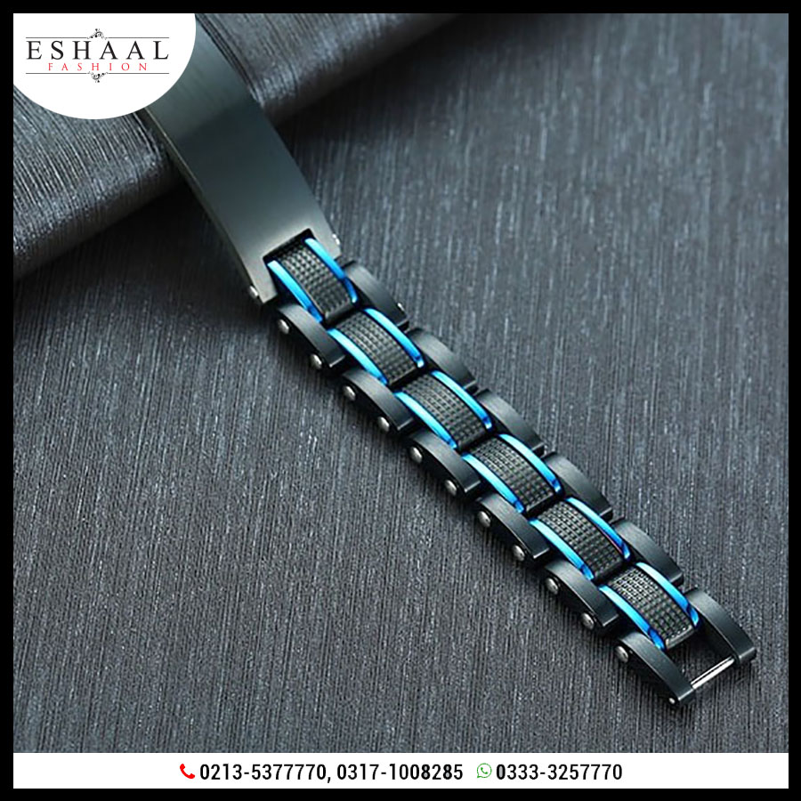Black with Blue For Men Bracelet Heavy Chunky Stainless Steel Wristband 2