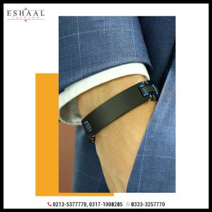 Black with Blue For Men Bracelet Heavy Chunky Stainless Steel Wristband