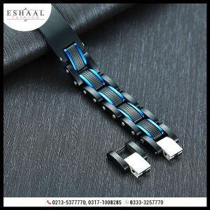 Black with Blue For Men Bracelet Heavy Chunky Stainless Steel Wristband 5