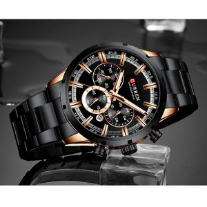 Black with Rose Gold Men Curren Watch