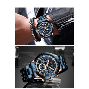 Blue With Rose Gold Dial Men Curren Watch