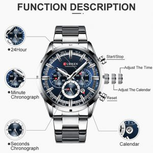 Silver with Blue Dial Mens New Curren Watch 4